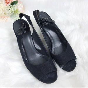 Stuart Weitzman Black Peep Toe Ankle Strap 7.5